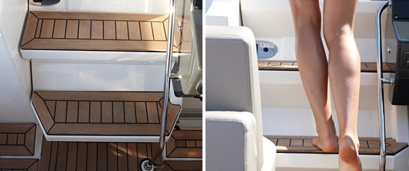 Wide steps to access the foredeck