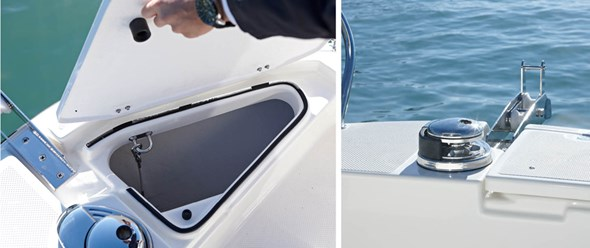 Foredeck anchor locker with optional forward windlass
