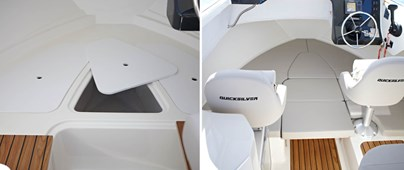 Double berth with storage below and berth cushions