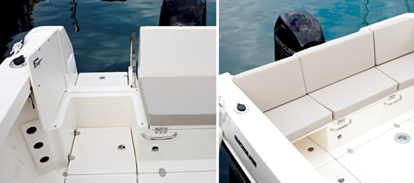 Transom access and removable back seat
