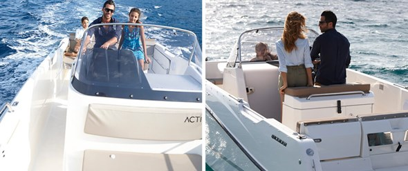 Easy walking access from bow to stern with walk around center console for easy access to bow
