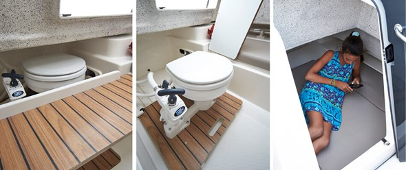 Cabin with optional concealed sea toilet. The cabin seating area is convertible to 2 berths