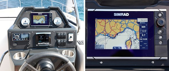"Ergonomic helm with instrumentation and optional 7"" Simrad chartplotter"