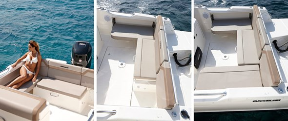 Versatile cockpit area with standard bench seat configuration and table that can partially be cleared for easy access to transom or fishing