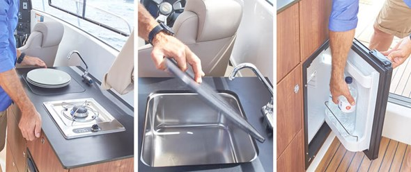Galley with pressure water with optional LPG stove and refrigerator