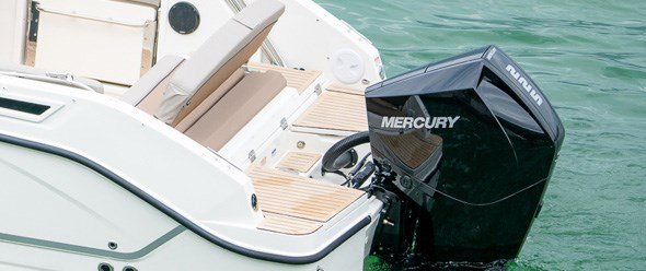 Large swim platforms and motor well step for easy access to both sides of transom